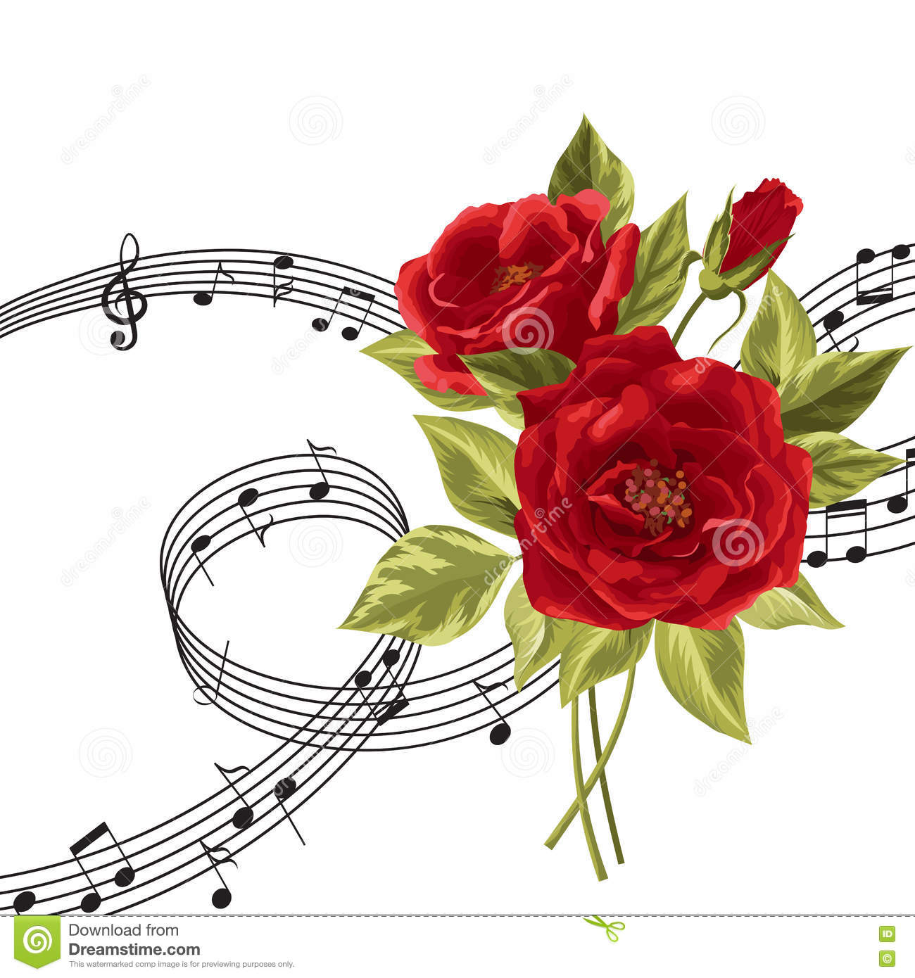 Red Roses With Music Notes. Stock Vector