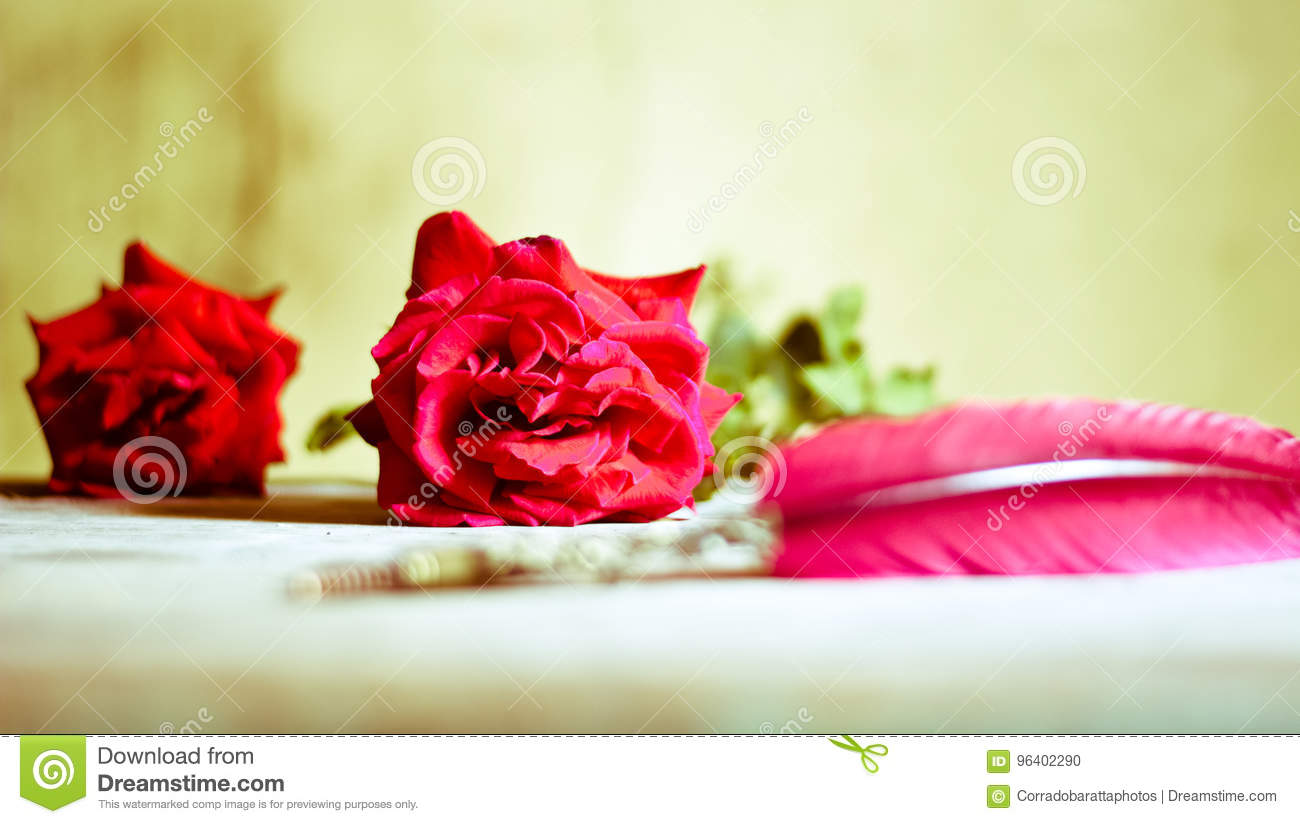 Red Roses And A Poem Written With An Ancient Pen Stock Photo