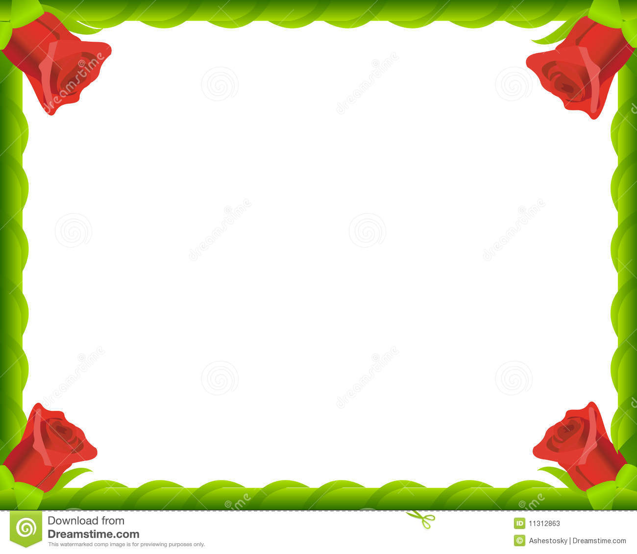 Red Roses Romantic Photo Frame Stock Vector - Illustration of green ...