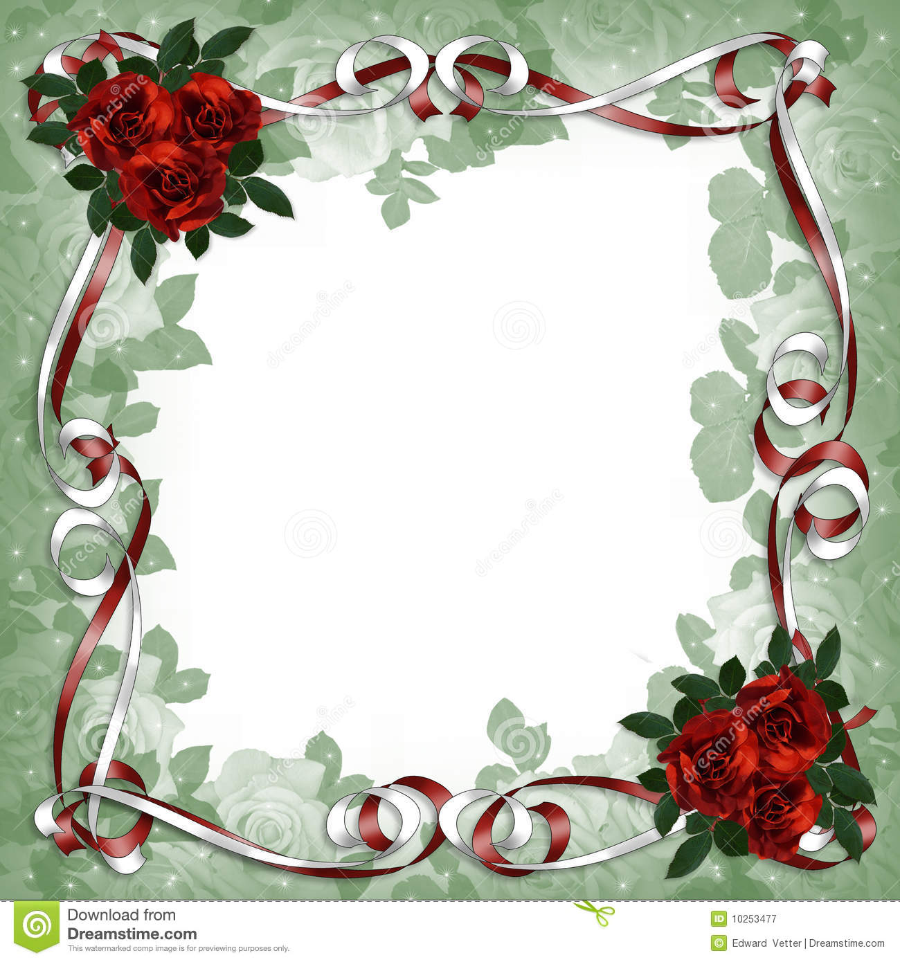 Image and illustration composition red roses, satin ribbons scrapbook ...