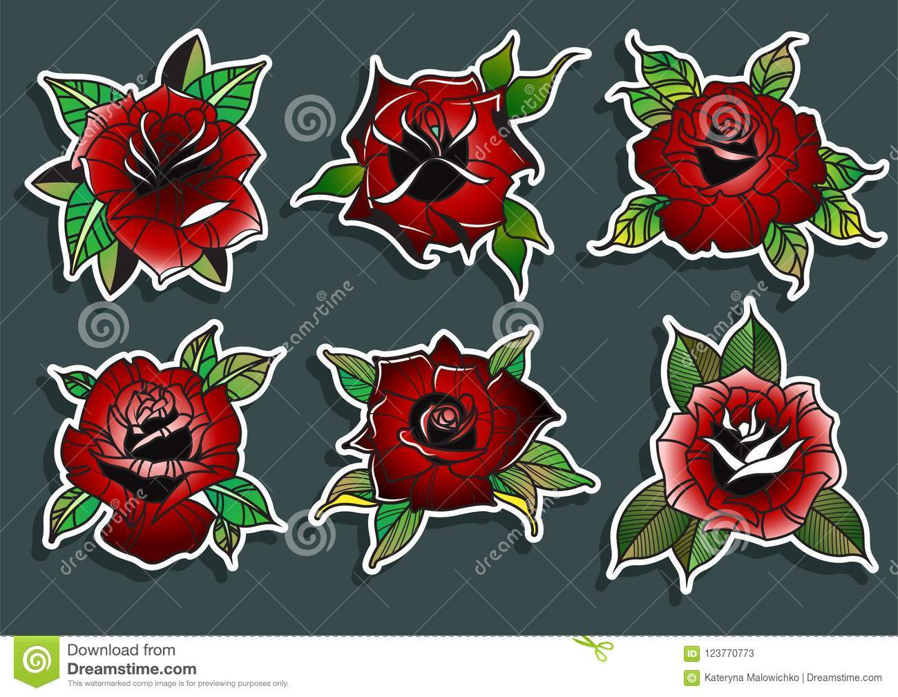 Red Roses Tattoo Design Set Stock Illustration Illustration Of