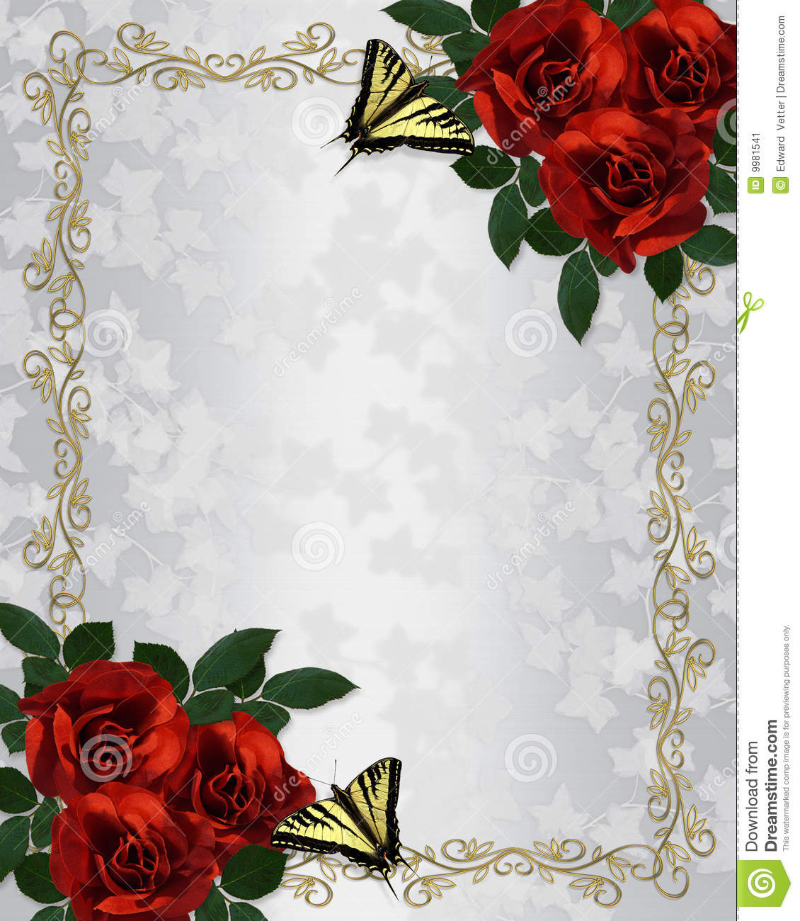 Wedding Invitations With Red Roses: Red Roses Wedding Invitation Stock Illustration