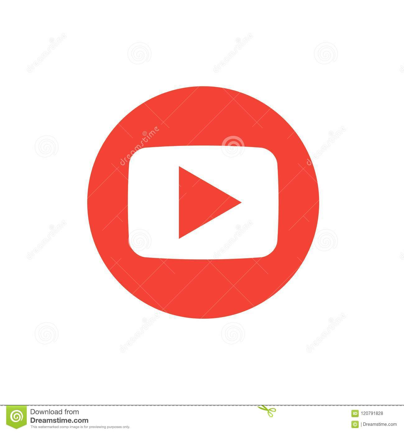 Red round button video player Social media.