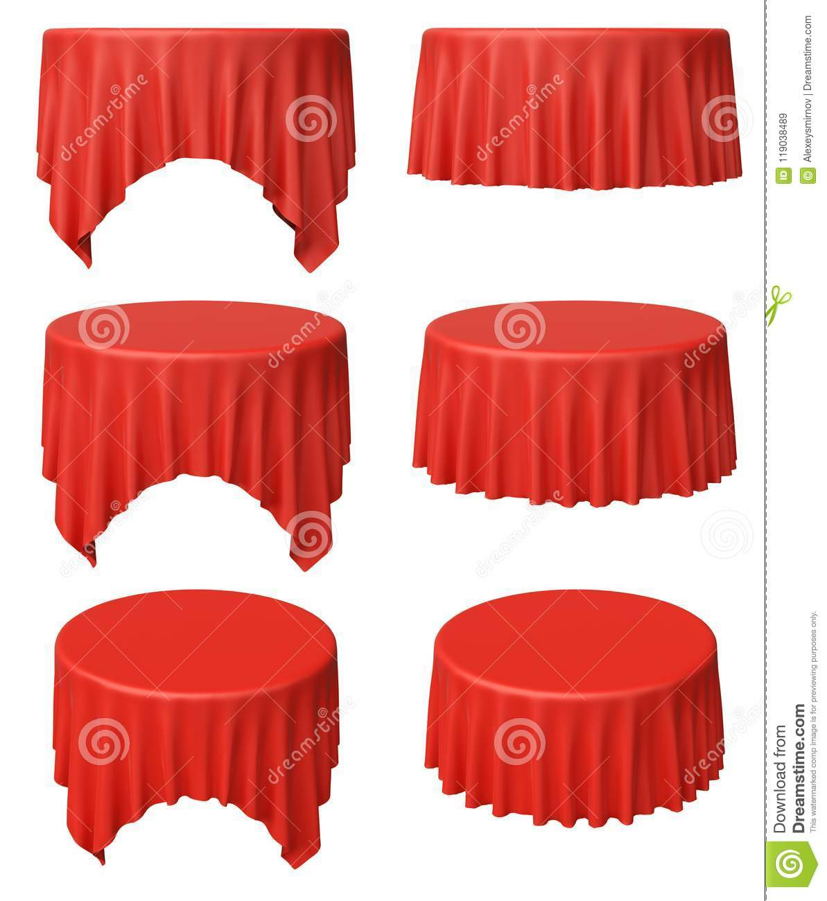 Red Round Table Cloth Set