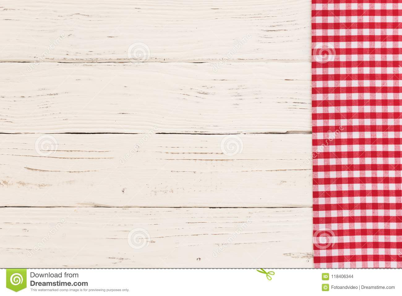 Red Rustic Checked Tablecloth Border On White Wooden Kitchen