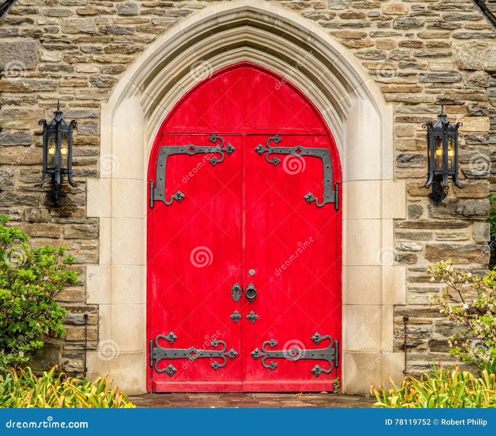 Royalty-Free Stock Photo & Red Rustic Ornate Church Doors Gatlinburg Tennessee Stock Photo ...