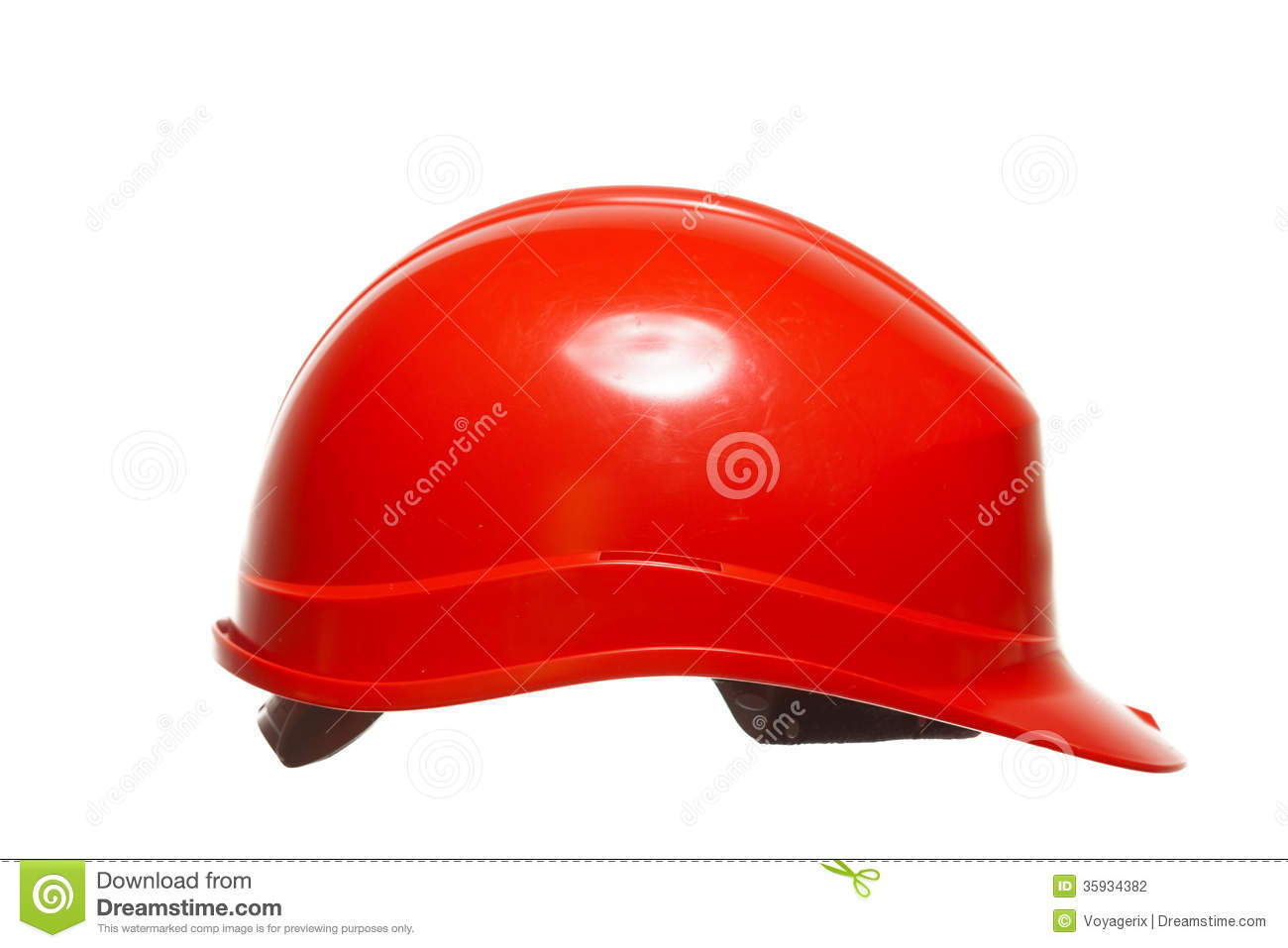 Red Safety Helmet Of Builder Building Worker Isolated On ...