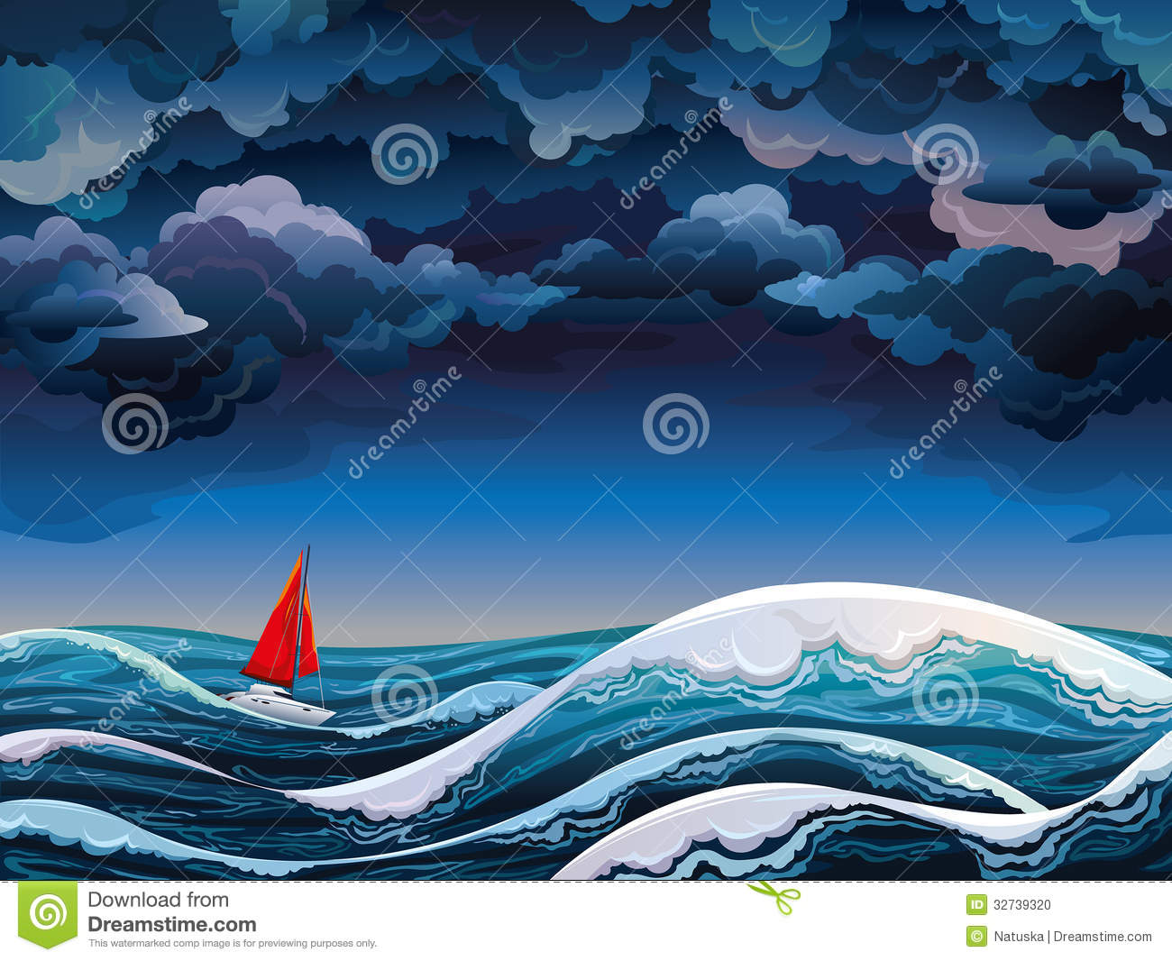 red sailboat and stormy sky stock illustration image
