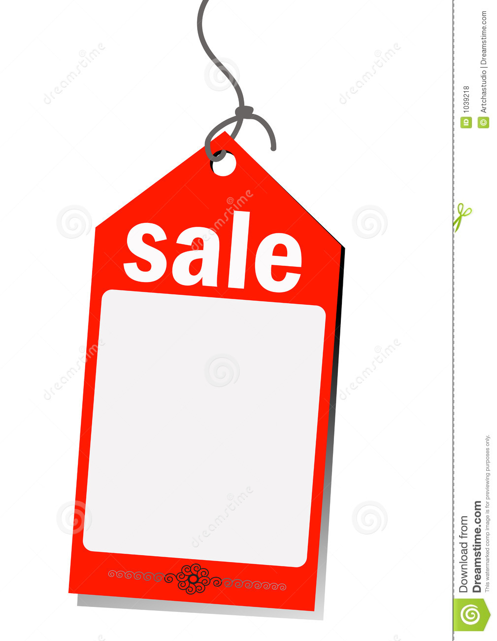 Red sale tag with copy space isolated on white background.