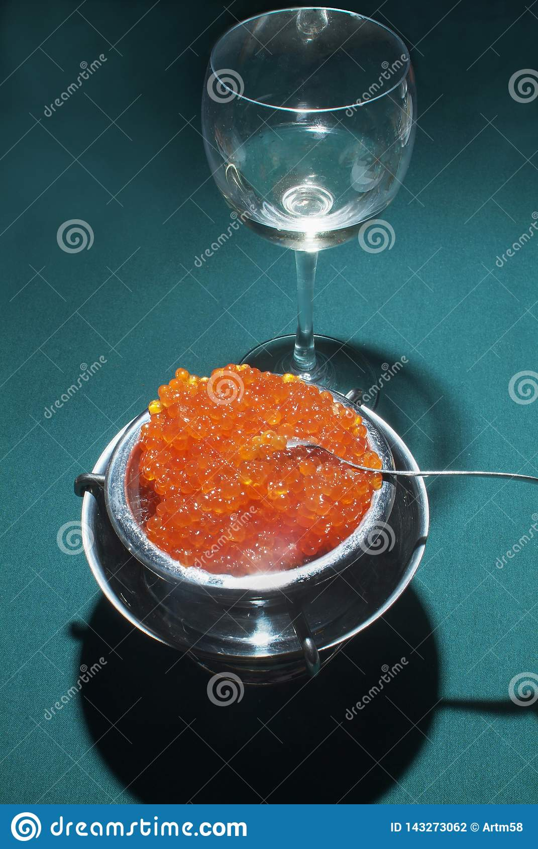 Red     Salmon  Caviar on green table