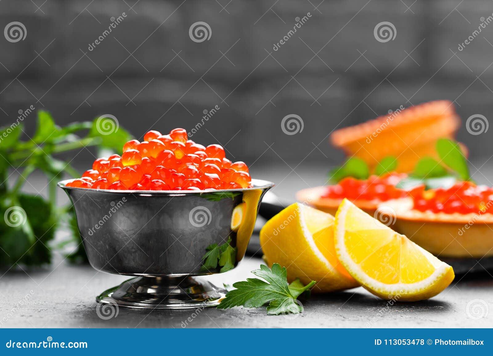 Red Salmon Fish Caviar Salmon Caviar In Metal Bowl Caviar Stock