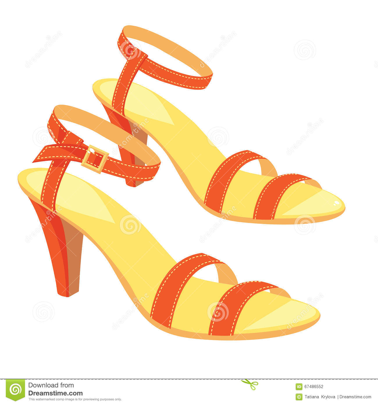 Red Sandals With Ankle Strap Stock Vector