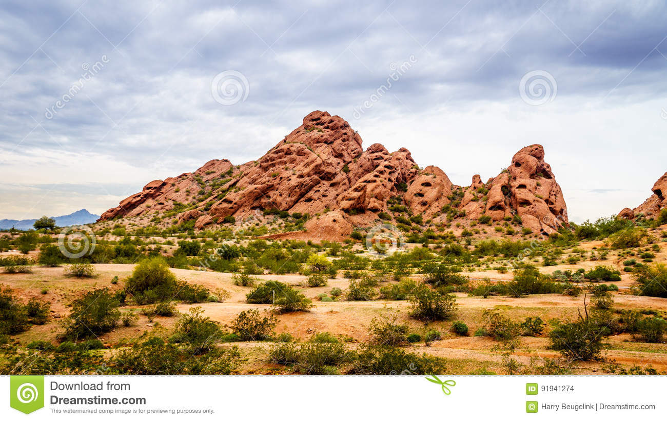 The Red Sandstone Buttes Of Papago Park Near Phoenix Arizona ...