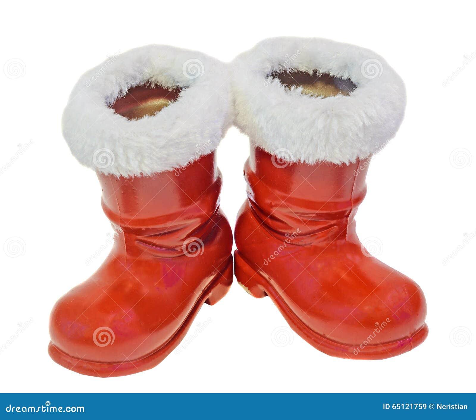 Red santa claus boots shoes saint nicholas gifts