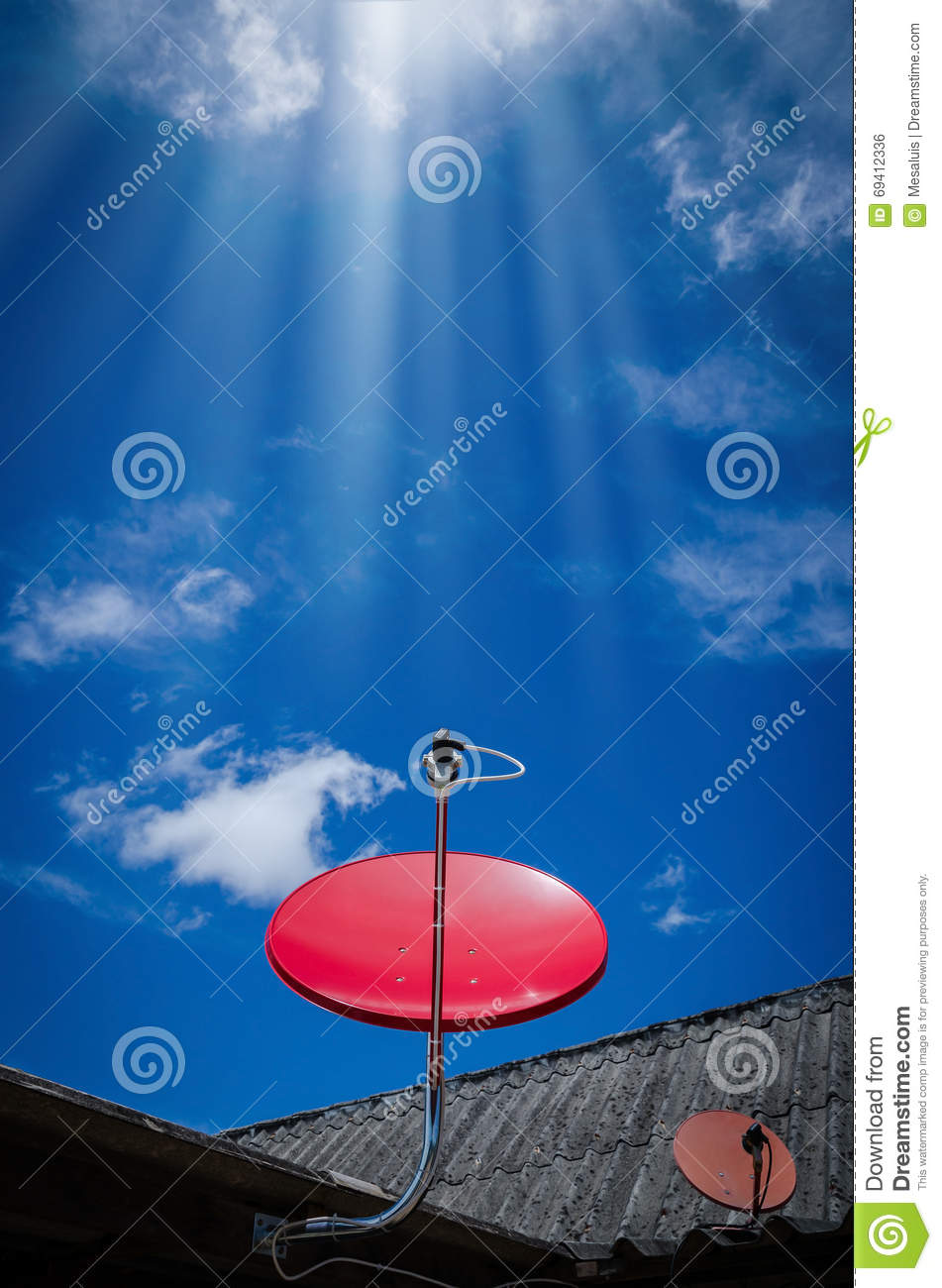 Download Red Satellite TV Receiver Dish On The Old  Roof Stock Photo - Image of dish, radio: 69412336