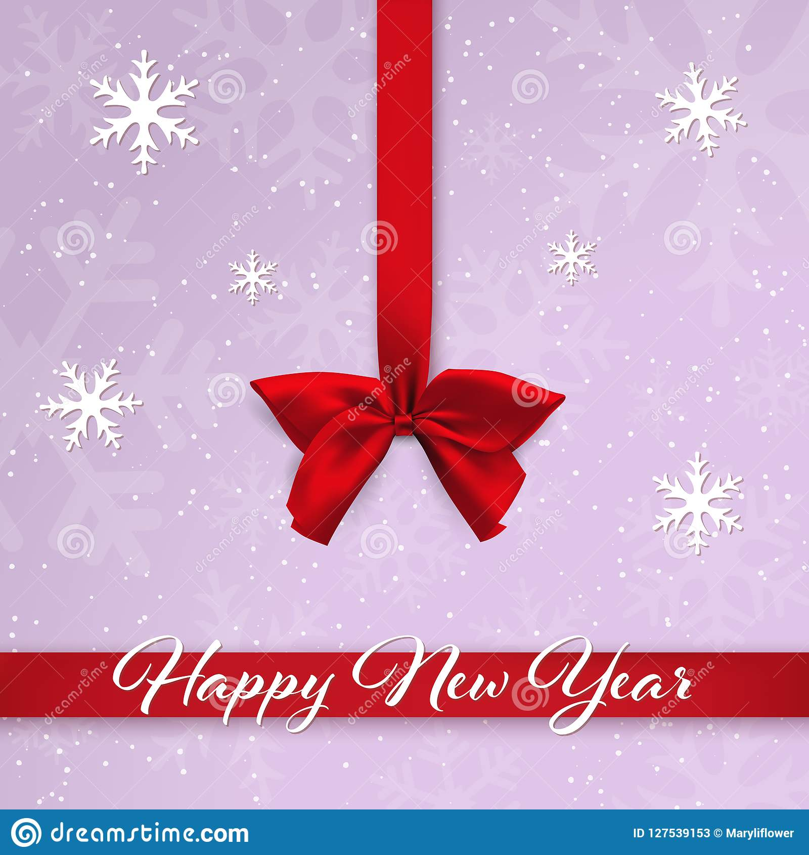 Red satin bow and ribbon on the purple background with falling snow and snowflakes. Happy New Year greeting card.