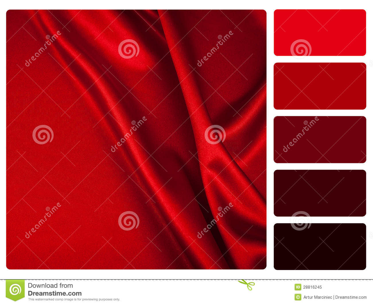 red satin colour palette swatch 28816245