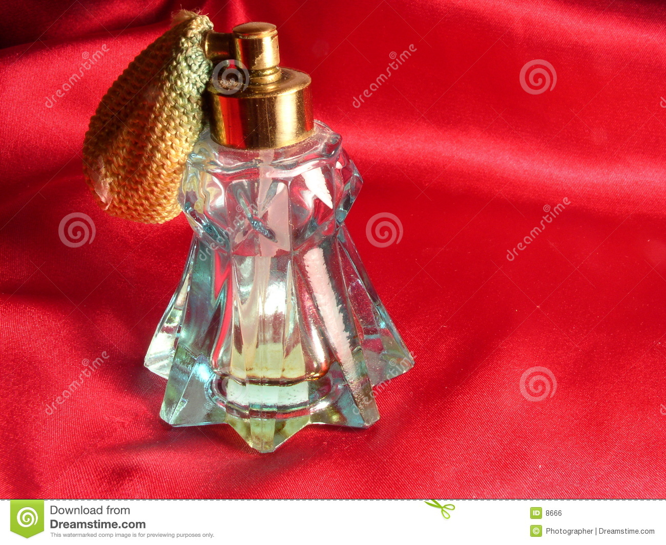 Red Satin and Perfume Bottle