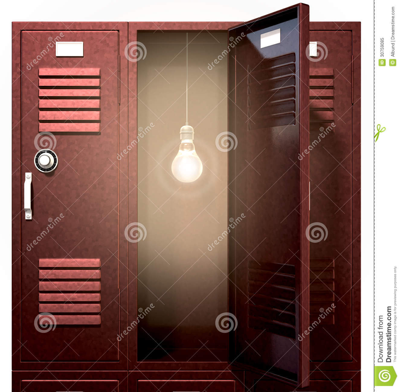 Red School Lockers With Light Bulb Inside Front Royalty
