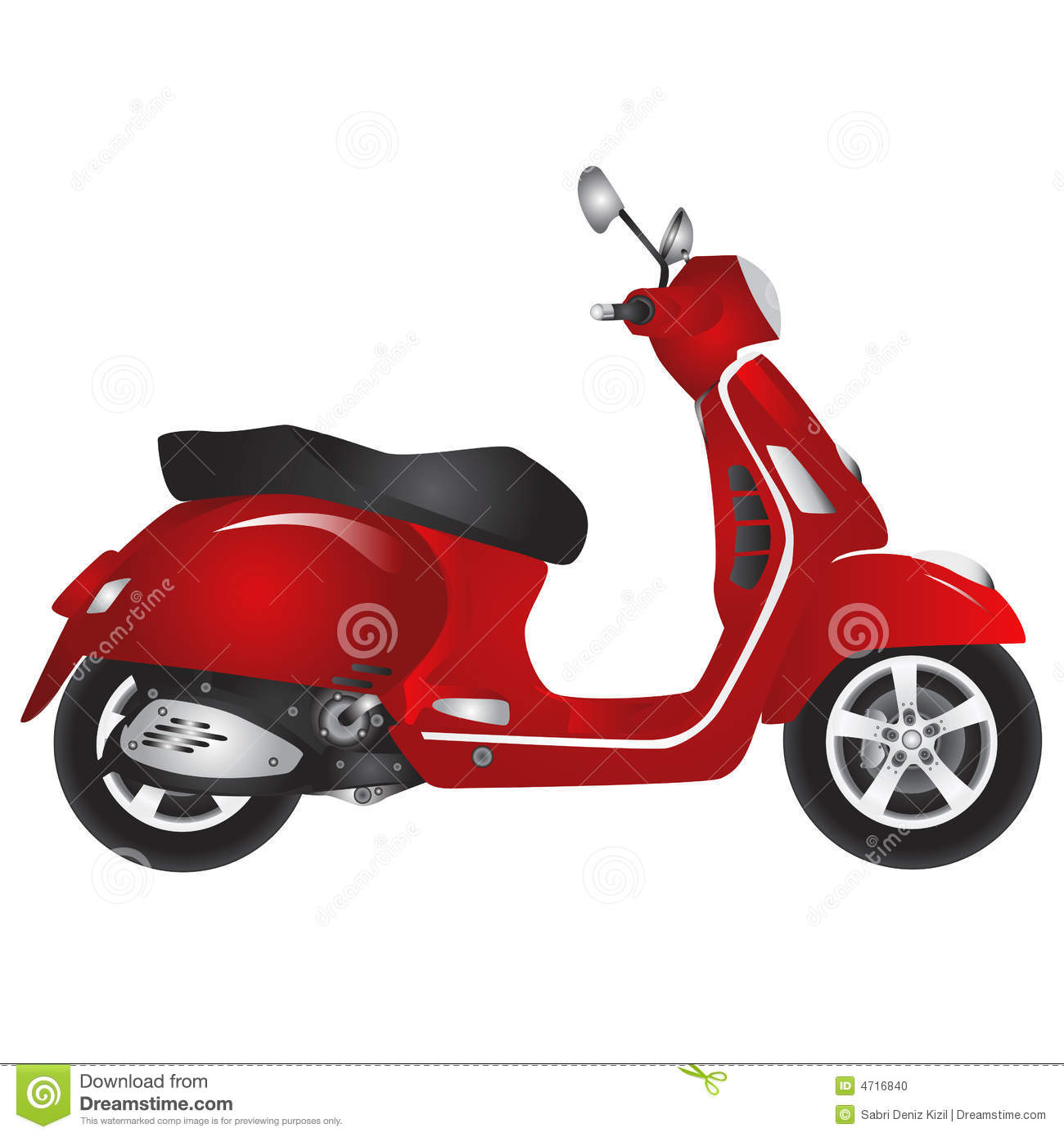 Red Scooter Vector Stock Photo Image 4716840