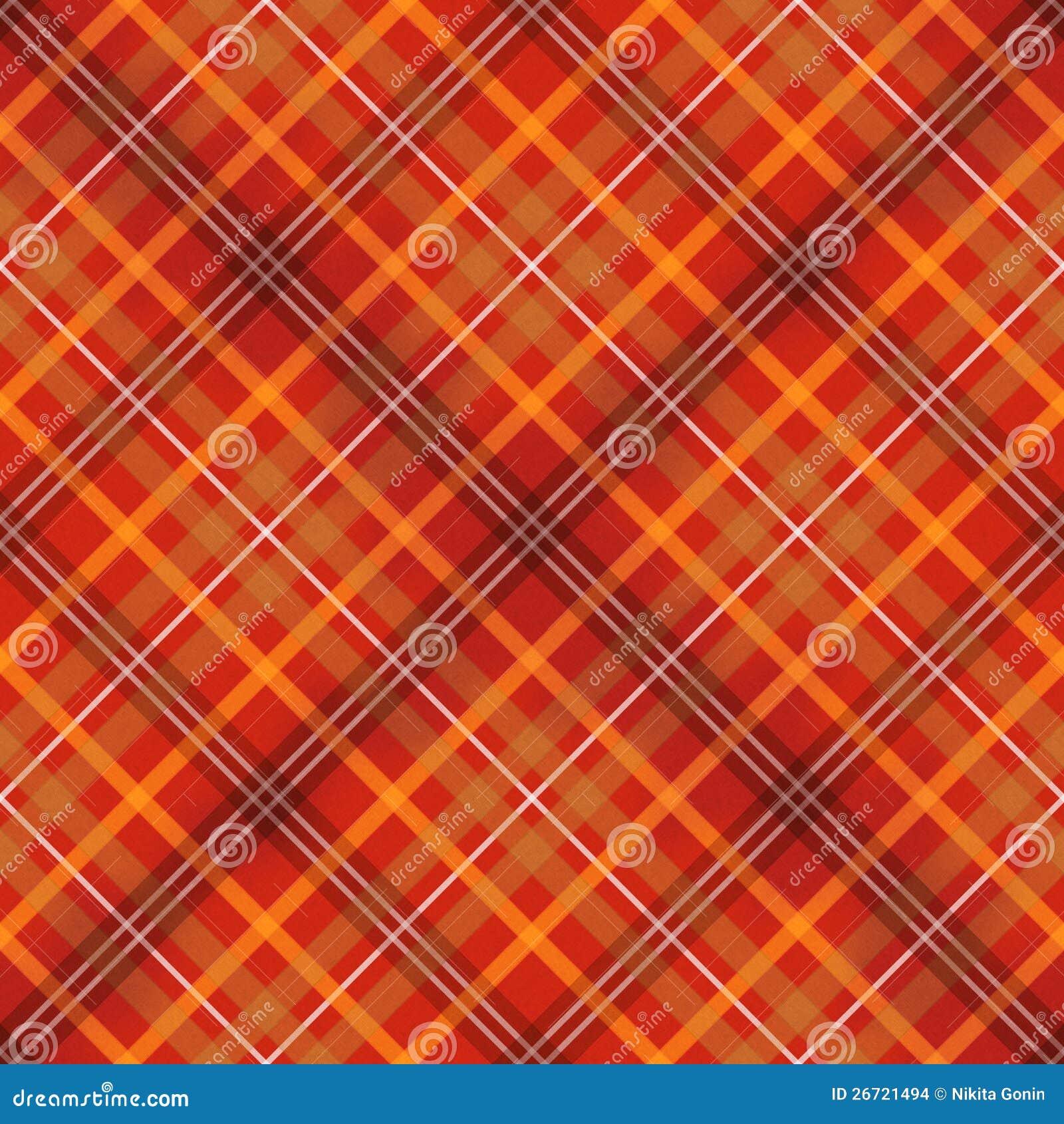 Red Scottish Checked Fabric Seamless Pattern Stock