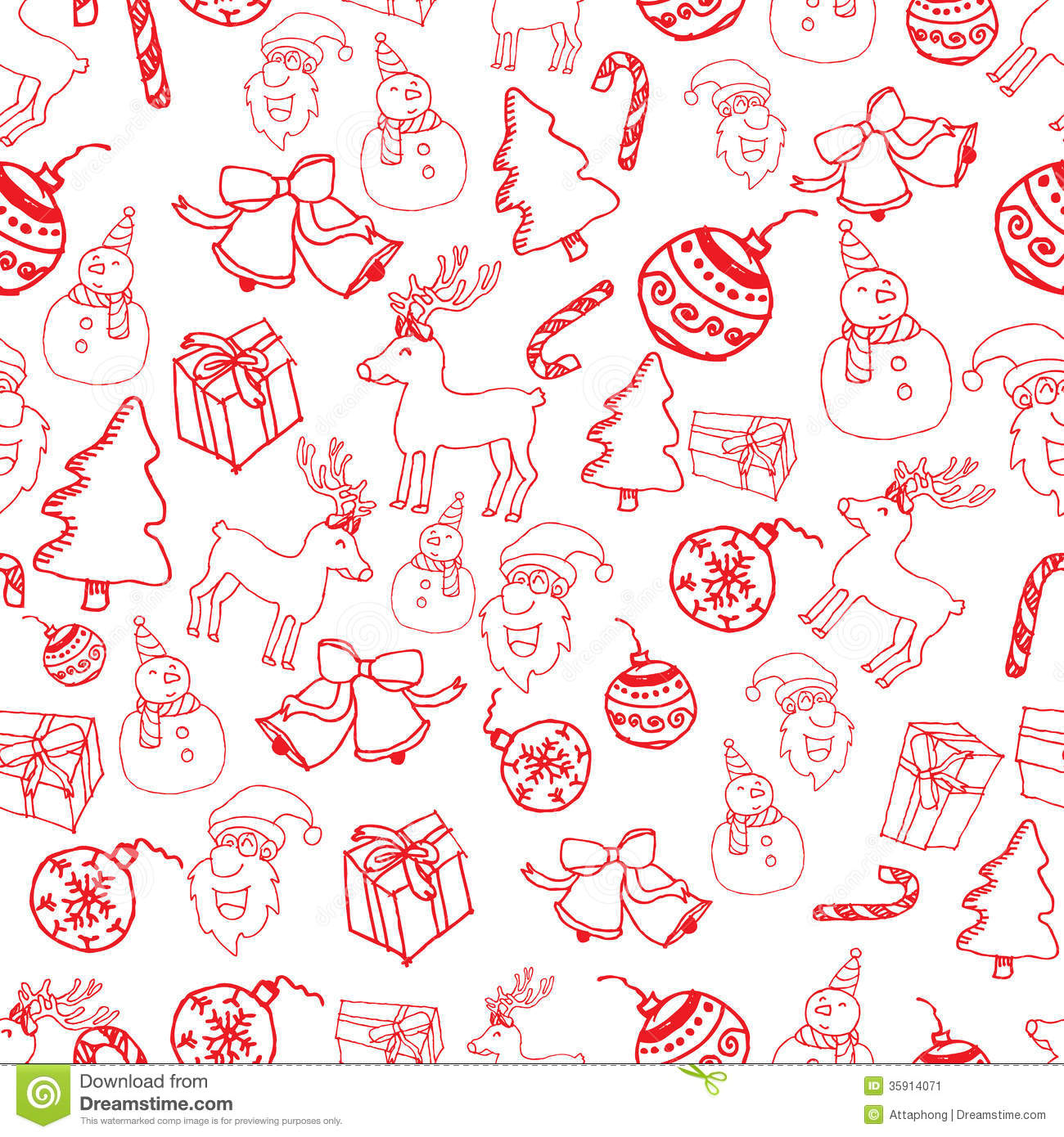 Red Seamless Christmas Pattern Vector Stock Image - Image