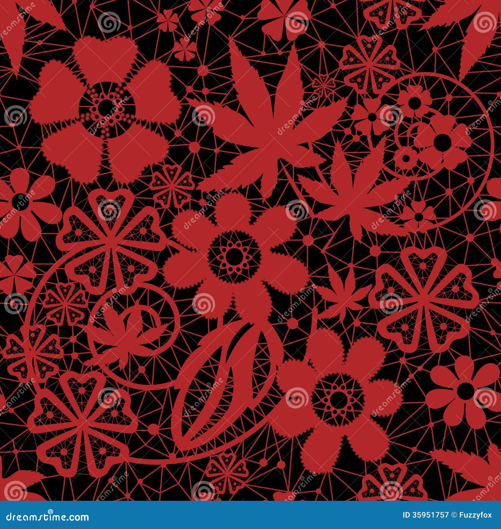 Red seamless lace pattern stock illustration. Illustration ...