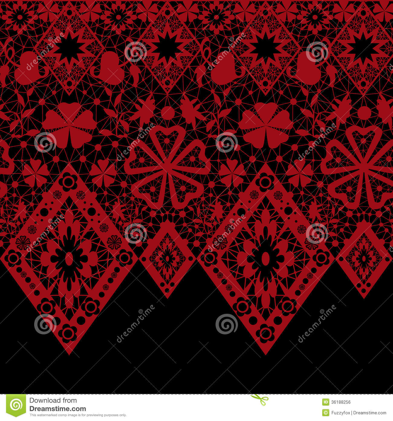 Red Seamless Lace Pattern On Black Stock Illustration ...
