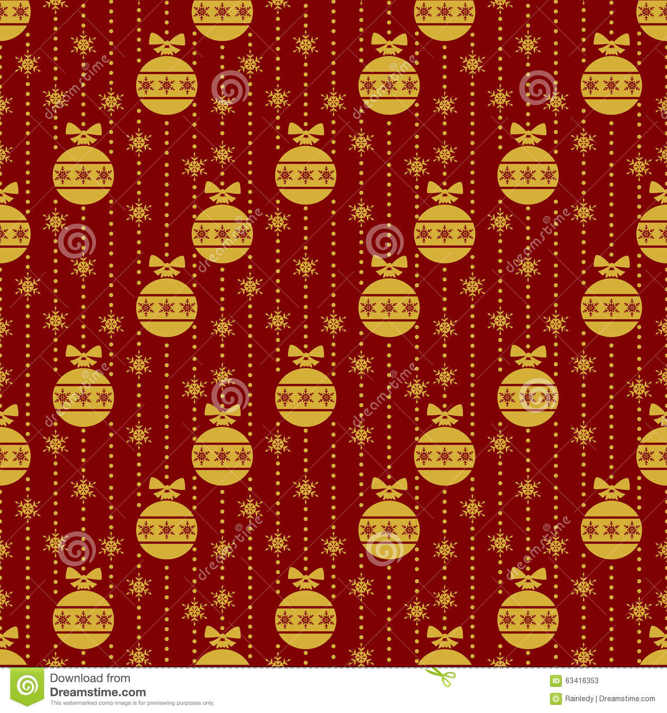Red seamless pattern with gold christmas balls stock for Red with gold