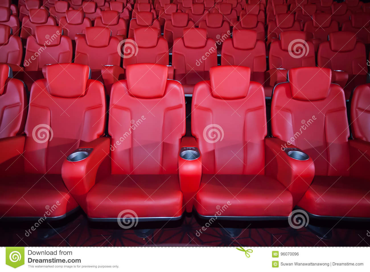 Red Seat In The Movie Theater Background Stock Photo Image Of Bokeh Empty 96070096