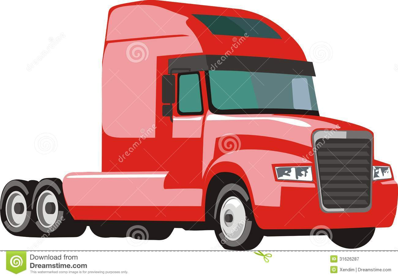 Illustration of red semi trailer truck isolated on white background.