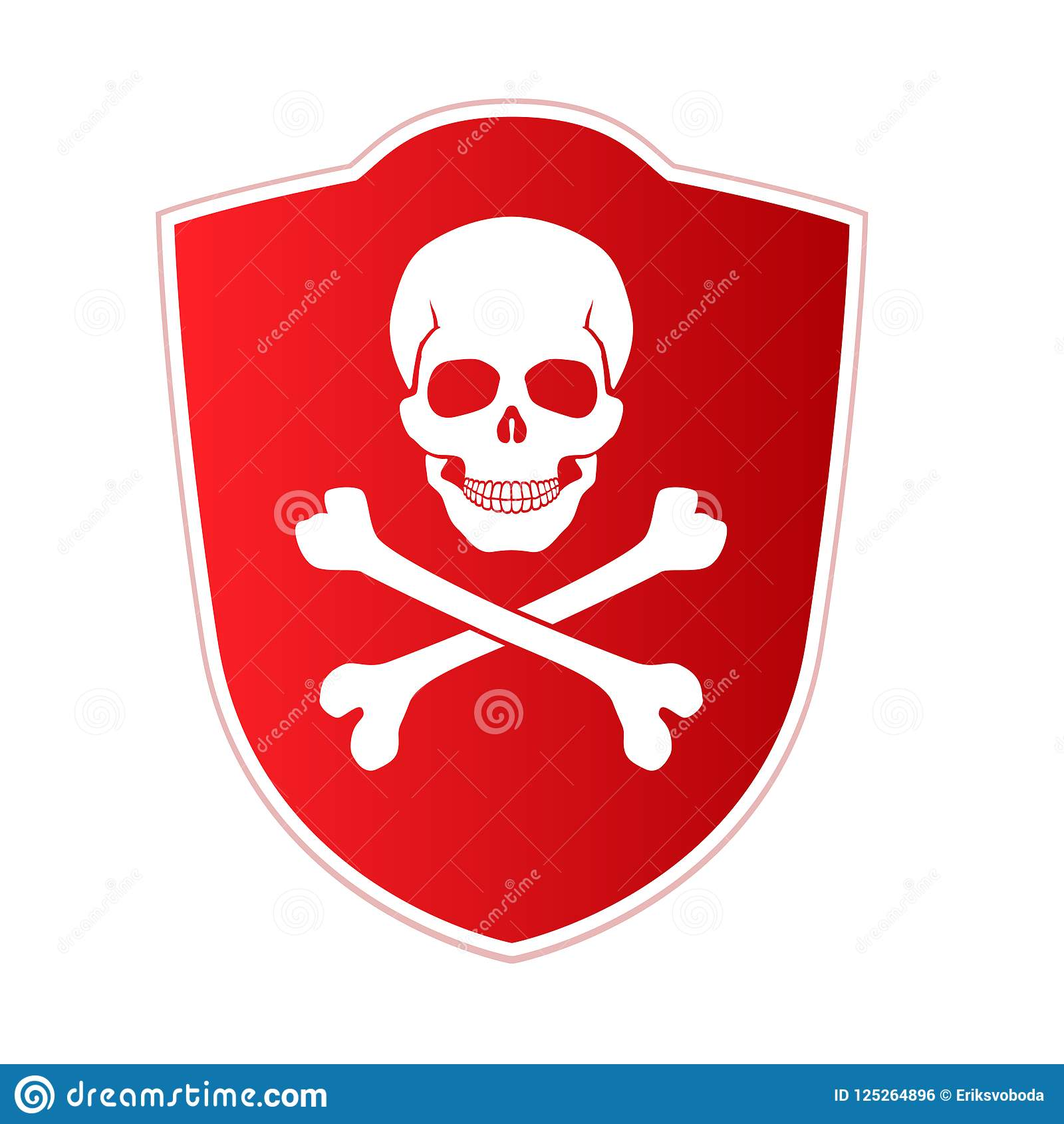 Red shield with emblem of death and danger. Skull and crossed bones on red background. Vector icon, illustration