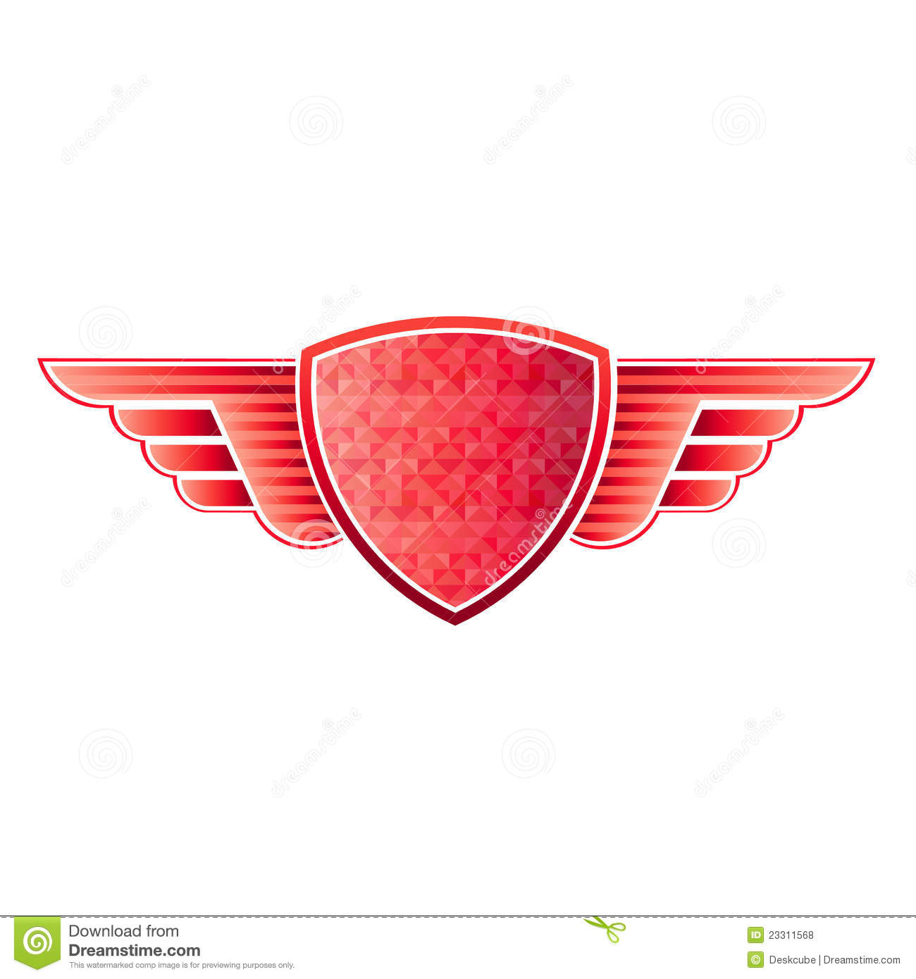 Red shield wings logo stock illustration. Illustration of ...