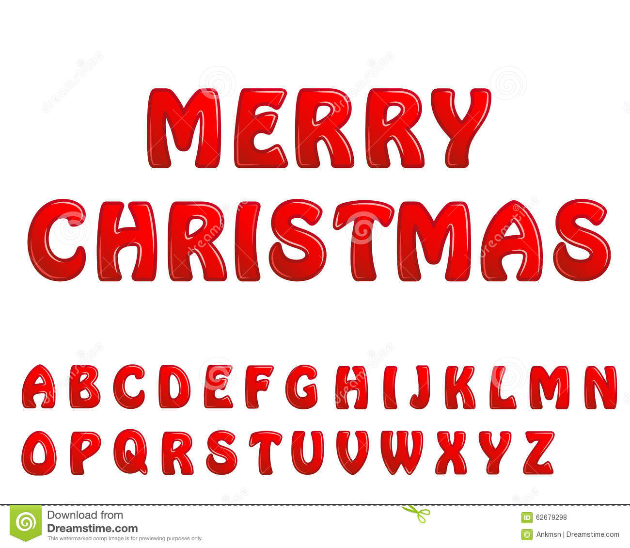 Red Shiny Letters Holiday Fonts Merry Christmas Stock