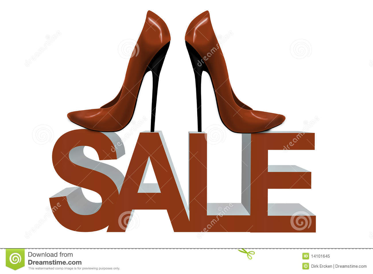 Red Shoes Sale Women Fashion High Heels Illustration 14101645 ...