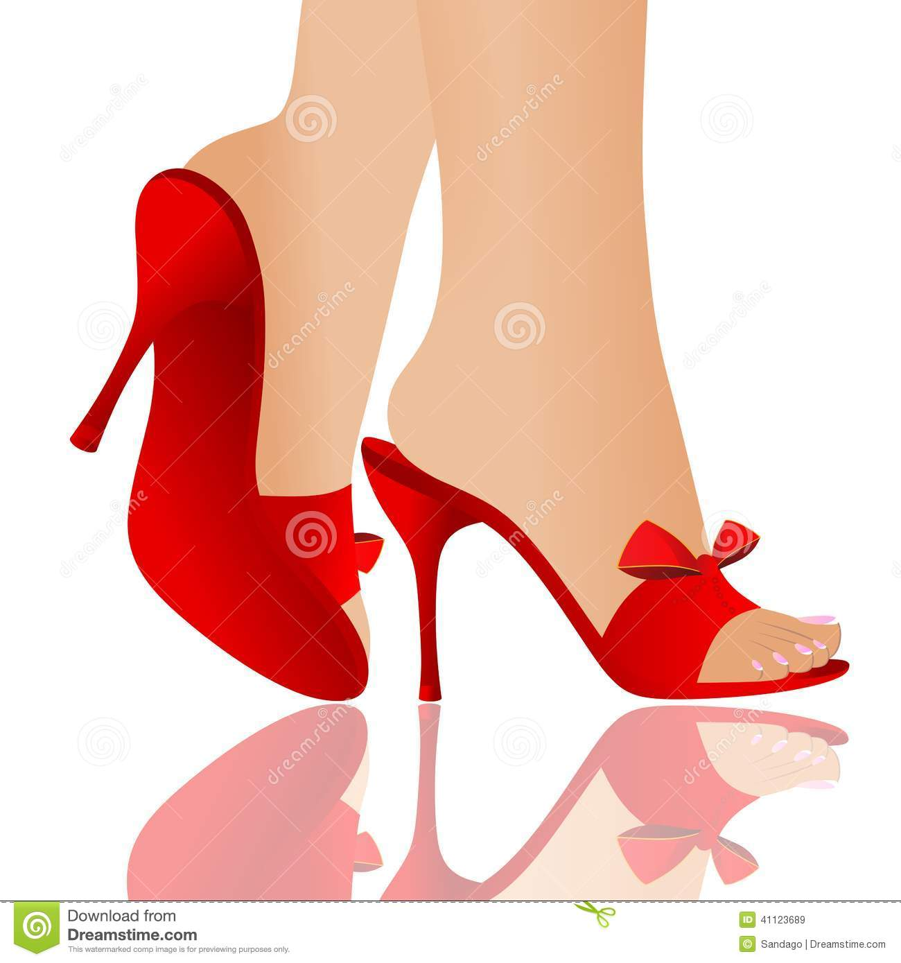 Vector illustration of red shoes,beautiful legs and reflection