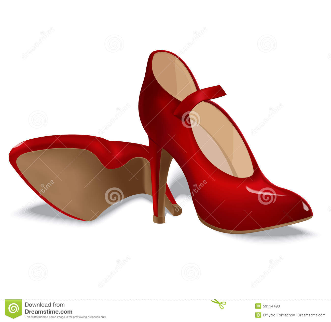 Elegant Red Women Shoes Isolated On White Background Realistic Female Shoes
