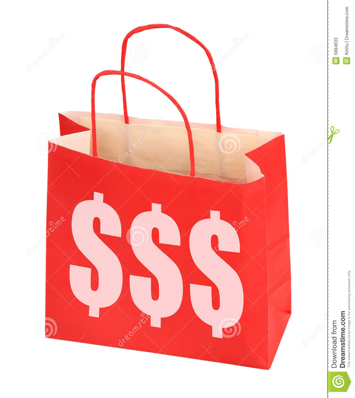 Red shopping bag with dollar sign