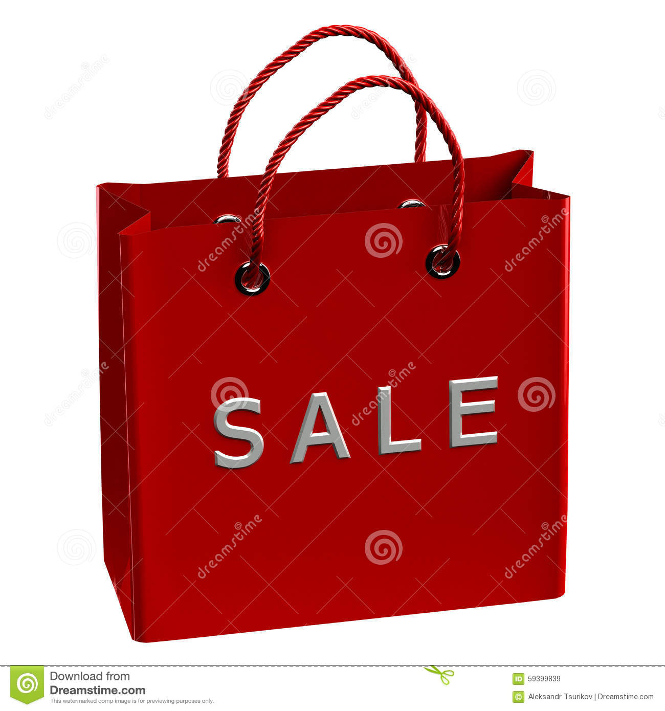 7759f0490c7 Red shopping bag with word sale, isolated on white background. 3D render.  More similar stock illustrations
