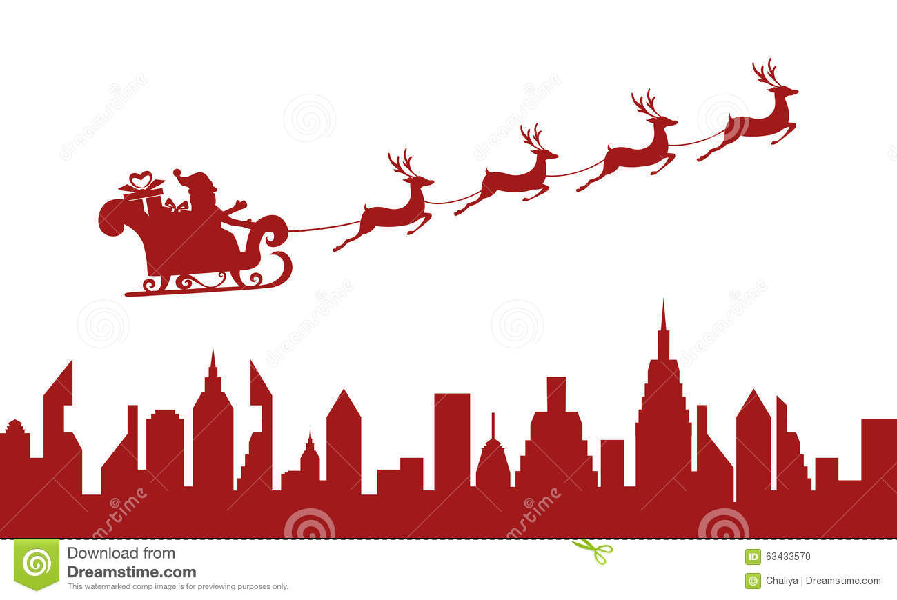 Santa Claus Flying Over A City With Reindeer Sleigh