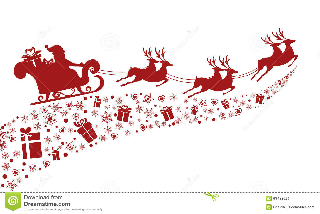 red silhouette santa claus flying with reindeer sleigh