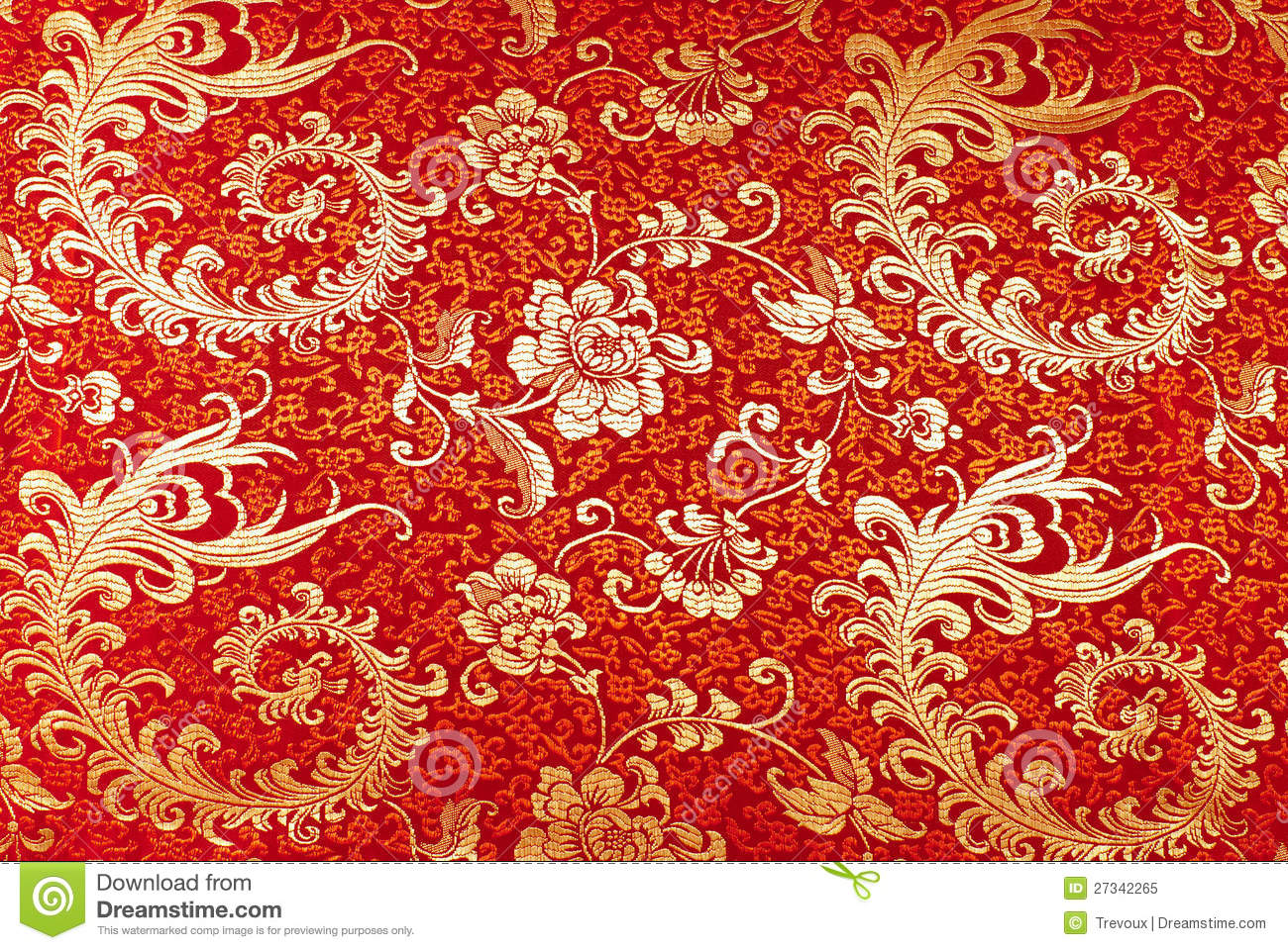Red Silk With Floral Pattern Stock Image Image Of Silky Foliage