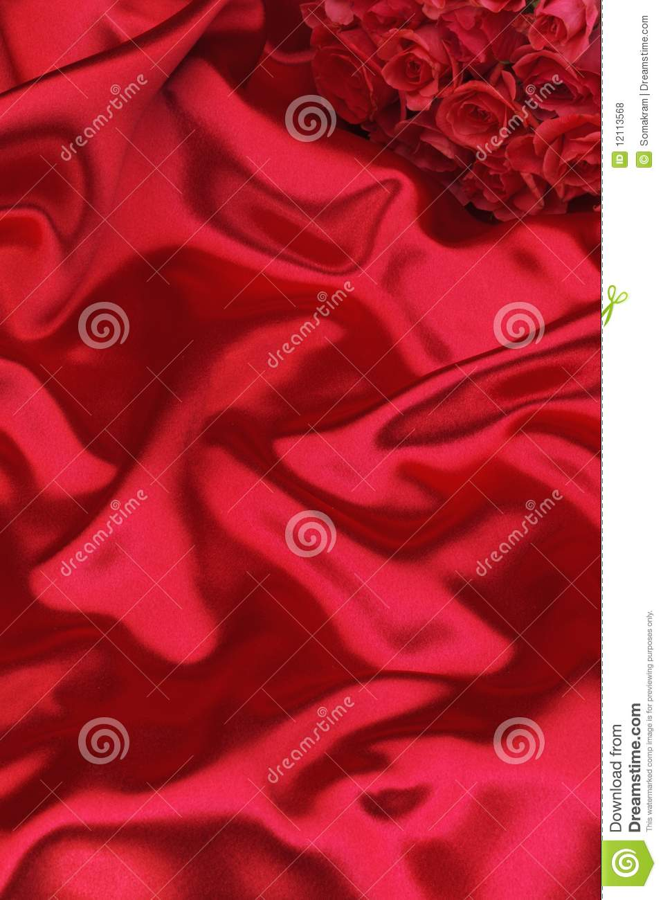 Red silk and roses
