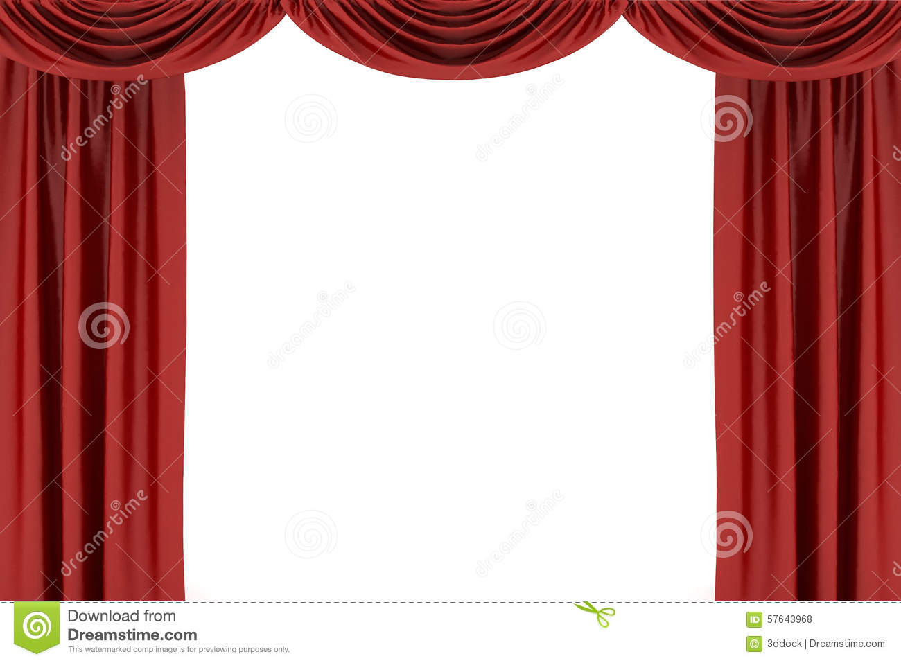 Red silk stage curtain on theater