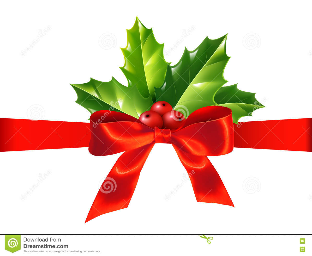 Red Silky Ribbon With Bow And Holly Leaves Vector
