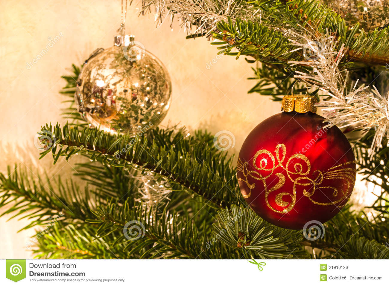 Red and silver balls in christmas tree stock photo image