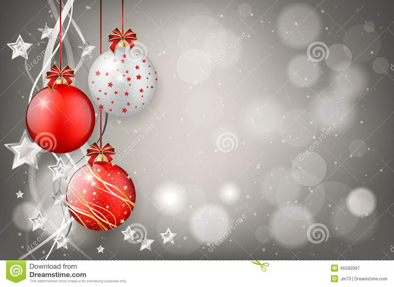 red and silver christmas balls on shiny background stock