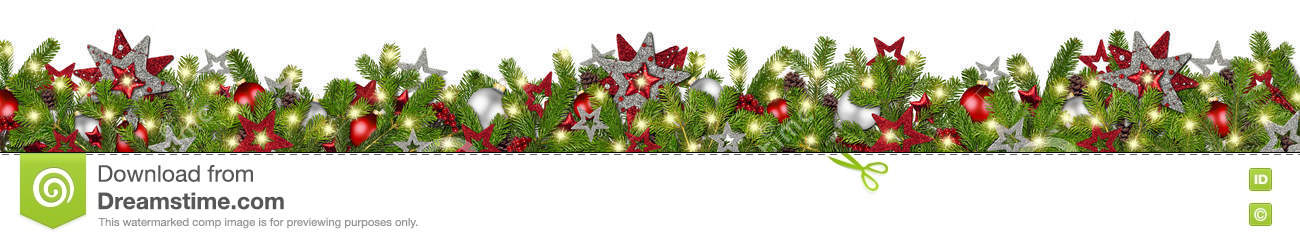Red silver christmas garland super wide fir branches panorama