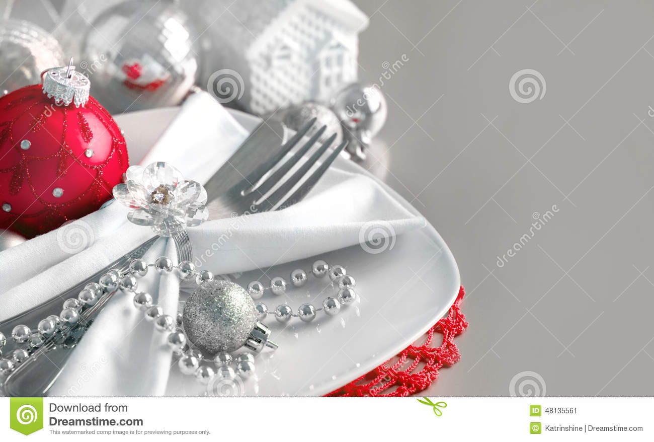 Red and silver christmas ornaments border stock photo for Red and silver christmas decorations