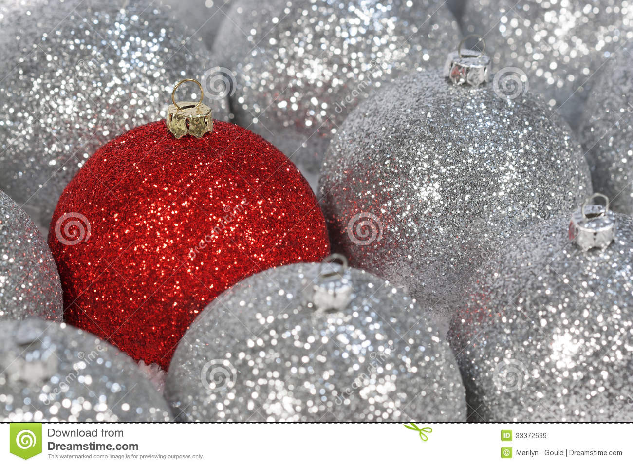 Red Silver Christmas Ornaments Stock Image